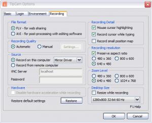 registrazione desktop