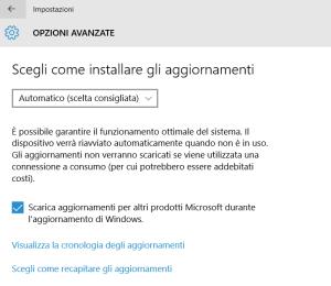 opzioni avanzate windows update